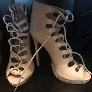 Strapped nude heels size 5.5